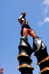 Port of Spain, Trinidad and Tobago: man on stilts in the carnival parade - photo by E.Petitalot