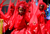 Port of Spain, Trinidad and Tobago: young girls dancing in red costume - carnival - photo by E.Petitalot
