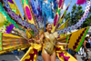 Port of Spain, Trinidad and Tobago: bird of paradise - woman with a colorful costume during the carnival parade - photo by E.Petitalot