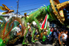 Port of Spain, Trinidad and Tobago: green reptile with a sombrero - Carnival in Port of Spain - photo by E.Petitalot