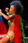Port of Spain, Trinidad and Tobago: woman singing and dancing during carnival - photo by E.Petitalot