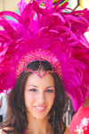 Port of Spain, Trinidad and Tobago: white girl with crown of pink feathers - carnival - photo by E.Petitalot