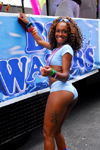 Port of Spain, Trinidad and Tobago: smiling and nice Trinidad girl during the carnival - hot pants - photo by E.Petitalot