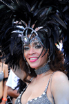 Port of Spain, Trinidad and Tobago: Trinidad girl with black feathers on the head during carnival - photo by E.Petitalot