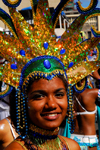 Port of Spain, Trinidad and Tobago: girl with elaborate head gear for carnival - blue gems - photo by E.Petitalot