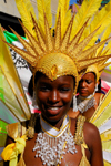 Port of Spain, Trinidad and Tobago: girl with yellow feathers - carnival - photo by E.Petitalot