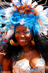 Port of Spain, Trinidad and Tobago: smiling Trinidad girl with wonderbra - carnival - photo by E.Petitalot