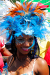 Port of Spain, Trinidad and Tobago: exotic girl with colourful feathers - carnival - photo by E.Petitalot