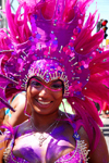Port of Spain, Trinidad and Tobago: girl with pink feathers on the head - carnival - photo by E.Petitalot