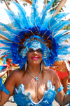 Port of Spain, Trinidad and Tobago: a woman with blue feather crown and generous cleavage - Carnaval international de Trinidad - photo by E.Petitalot