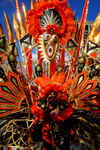 Port of Spain, Trinidad and Tobago: mask and red feathers - carnival parade - photo by E.Petitalot