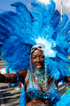 Port of Spain, Trinidad and Tobago: woman with long colorful feathers during carnival - photo by E.Petitalot