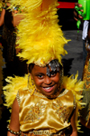 Port of Spain, Trinidad and Tobago: young girl in yellow costume playing mas (masquerade) - photo by E.Petitalot