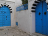 image of Tunisia - Sidi Bou Said: decorated blue gate / door (photo by J.Kaman)