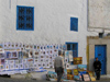 image of Tunisia - Sidi Bou Said: art on the street - paintings - artist (photo by J.Kaman)