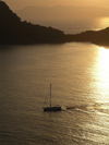 Turkey - Kas, Antalya Province - Mediterranean region - Anatolia: yacht in sunset - photo by R.Wallace