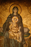Istanbul, Turkey: Christian icon inside the Aya Sofya - the Virgin - Haghia Sophia - photo by J.Wreford