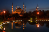 Istanbul, Turkey: the Blue mosque at night - aka Sultan Ahmed Mosque - designed by Sedefhar Mehmet Aga- design by Sedefhar Mehmet Aga, based on the Hagia Sophia church - photo by J.Wreford