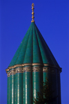 Turkey - Konya / KYA : Mevlana's mausoleum - tiled tower / dergah kuppel - aqua tiled fluted dome - photo by J.Wreford