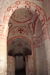 Turkey - Cappadocia - G�reme: Geometric decorations - Church of Saint Barbara / Barbara Kilise - atron saint of architects, stonemasons and artillery men - Goreme Open Ai Museum - photo by C.Roux