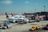 Istanbul, Turkey: Ataturk airport - line of THY aircraft - Turkish Airlines - Akbank jetty - photo by M.Torres