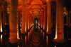 Istanbul / Constantinople, Turkey: Basilica-Cistern - built under emperor Justinian I - forest of Byzantine columns in the underground water reservoir - Yerebatan Sarayi - Yerebatan Caddesi, Eminönü-District - photo by M.Torres