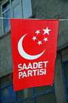 Yusufeli, Artvin Province, Black Sea region, Turkey:  crescent and five stars - flag of the Felicity Party, an Islamist party - Saadet Partisi - political campaign - photo by W.Allg�wer