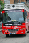 Yusufeli / Perterek, Artvin Province, Black Sea region, Turkey: campaing bus of the Democratic Party - Demokrat Parti - conservative ideology - photo by W.Allg�wer