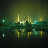Istanbul, Turkey: Blue mosque at night - mirror reflection - Sultan Ahmad square - Eminönü District - photo by W.Allgöwer