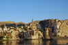 Hasankeyf / Heskif, Batman Province, Southeastern Anatolia, Turkey: the town reflected on the river tigris - photo by W.Allgöwer