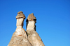 Cappadocia - G�reme, Nevsehir province, Central Anatolia, Turkey: twin fairy chimneys - Valley of the Monks - Pasabagi Valley- photo by W.Allg�wer