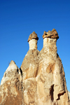 Cappadocia - G�reme, Nevsehir province, Central Anatolia, Turkey: rock formation - basalt boulders over tuff cones - fairy chimneys - Valley of the Monks - Pasabagi Valley- photo by W.Allg�wer