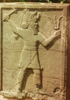 Yazilikaya / Midas Sehri, Çorum province, Black Sea region, Turkey: Hittite warrior with trident- photo by G.Frysinger