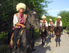 Ashgabat - Turkmenistan - young men in Akhalteke / Ahalteke breed horses - national Turkmen clothes - photo by G.Karamyanc / Travel-Images.com