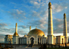 Turkmenistan - Ashghabat / Ashgabat / Ashkhabad / Ahal / ASB: Kipchak Mosque at dusk - Islamic Architecture - verses from the Rukhnama have been inscribed on the walls - late afternoon - built by Bouygues - Turkmenbashy's Ruhy Mosque - architects Kakajan Durdiev, Durli Durdieva, Robert Bellon - photo by G.Karamyanc