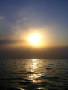 Turkmenistan - Balkan velayat: sun over the Caspian sea - photo by G.Karamyanc