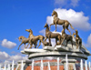 Ashgabat - Turkmenistan - monument to the Turkmen national breed of horses, the Akhal-Teke / Ahalteke - photo by G.Karamyanc / Travel-Images.com