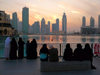 Dubai, UAE: Skyscrapers skyline - people watching - photo by J.Kaman