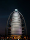 Jumeirah, Dubai, UAE: Burj Al Arab hotel at night - built on an artificial island - photo by J.Kaman