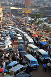 Kampala, Uganda: African city traffic - Burton street fraffic from above - share taxis by the Old Taxi Park - endeless queue of matatu share taxis - photo by M.Torres