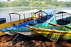 Jinja, Uganda: source of the Nile river - boats on the eastern bank of the river - photo by M.Torres