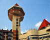Kampala, Uganda: Golf Course Hotel and Casino, with its panoramic tower, Yusuf Lule Road - seen fom below - photo by M.Torres