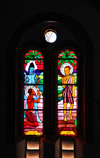 Kampala, Uganda: stained glass windows -  persecution of the Church under King Mwanga - St. Mary's Catholic Cathedral, Rubaga Cathedral, Rubaga hill - Metropolitan Archdiocese of Kampala - photo by M.Torres