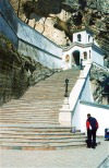 Uspensky cave monastery: facing the steps (photo by G.Frysinger)