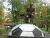 Kiev: Lobanovsky on the bench - statue by Dinamo Kiev's Stadium named after him (photo by D.Ediev)
