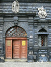 Lviv / Lvov, Ukraine: Black house on Market Square - decorated façade - photo by J.Kaman
