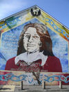 Ulster - Northern Ireland - Belfast: Republican mural - IRA's Bobby Sands - hunger striker (photo by R.Wallace)