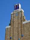 Tulsa, Oklahoma, USA: terra cotta adorned tower of the Warehouse Market Building - designed by B. Gaylord Noftsger - Zigzag Art Deco styel - South Elgin Avenue - photo by G.Frysinger