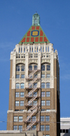 Tulsa, Oklahoma, USA: Philtower Building - neo-gothic and art deco design by Edward Buehler Delk - South Boston Street - photo by G.Frysinger