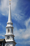 Portsmouth, New Hampshire, USA: Italianate spire of the North Church - Congregational church - Market Square and Congress St. - dramatic sky - New England - photo by M.Torres